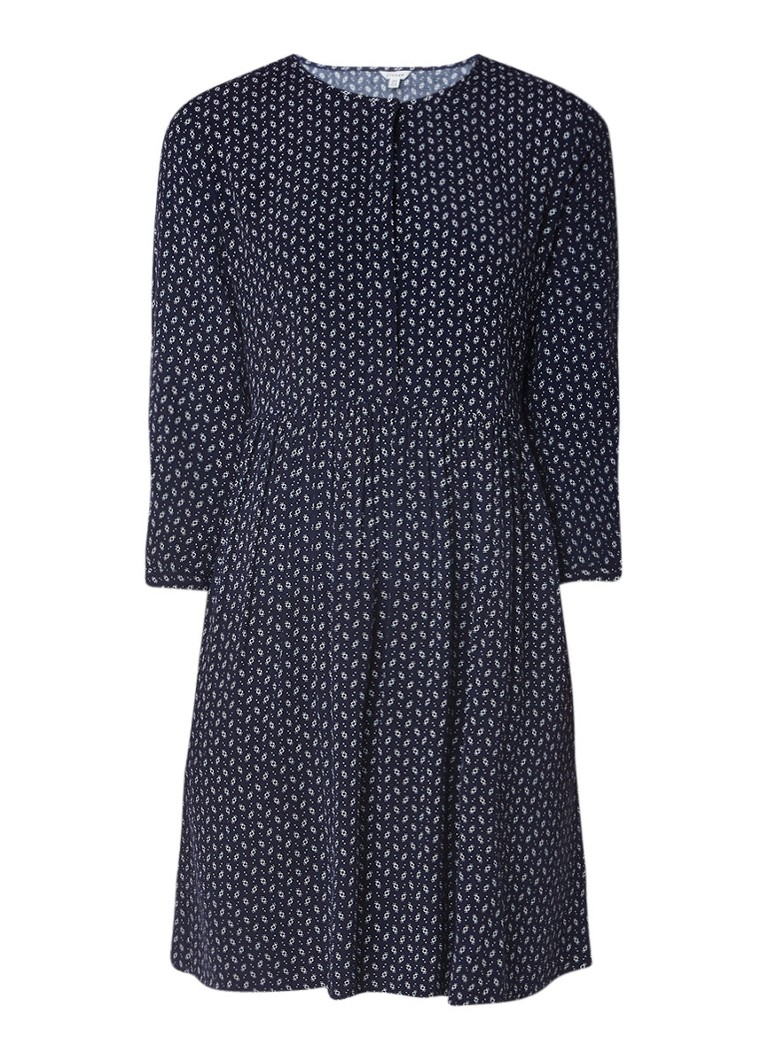 Jigsaw A-lijn jurk met V-hals en steekzak donkerblauw