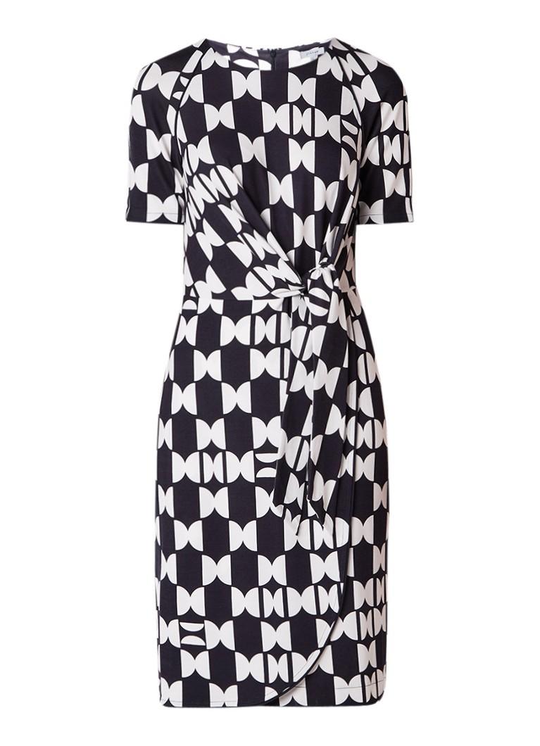 Jigsaw Brick midi-jurk met dessin en strikceintuur zwart