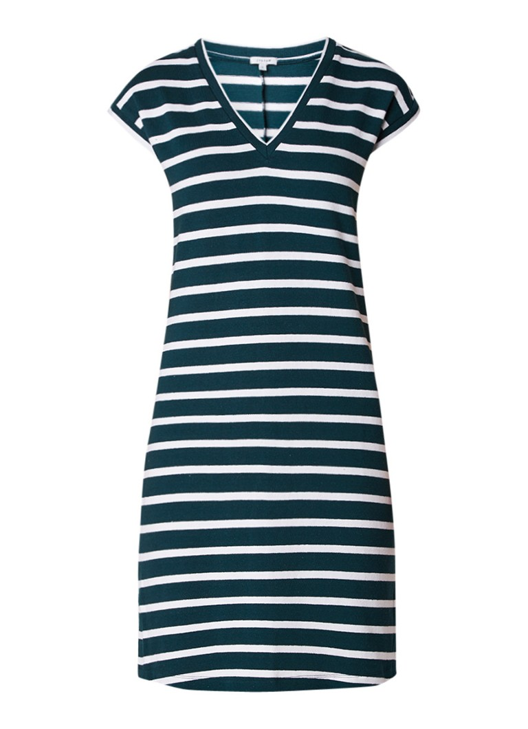 Jigsaw Jersey jurk met V-hals en streepdessin petrol