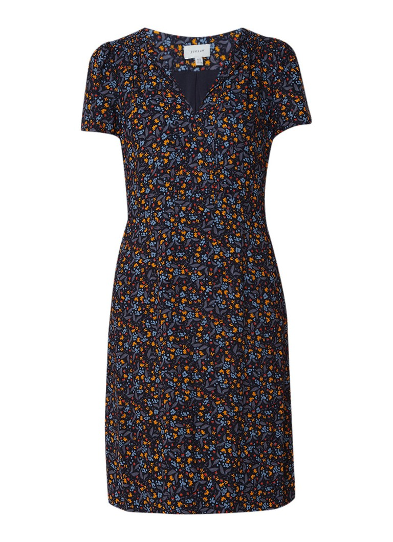 Jigsaw Midi-jurk met bloemdessin en kapmouw donkerblauw