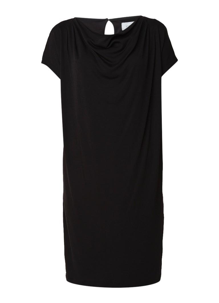 Jigsaw Modern T-shirt jurk van jersey met watervalhals zwart