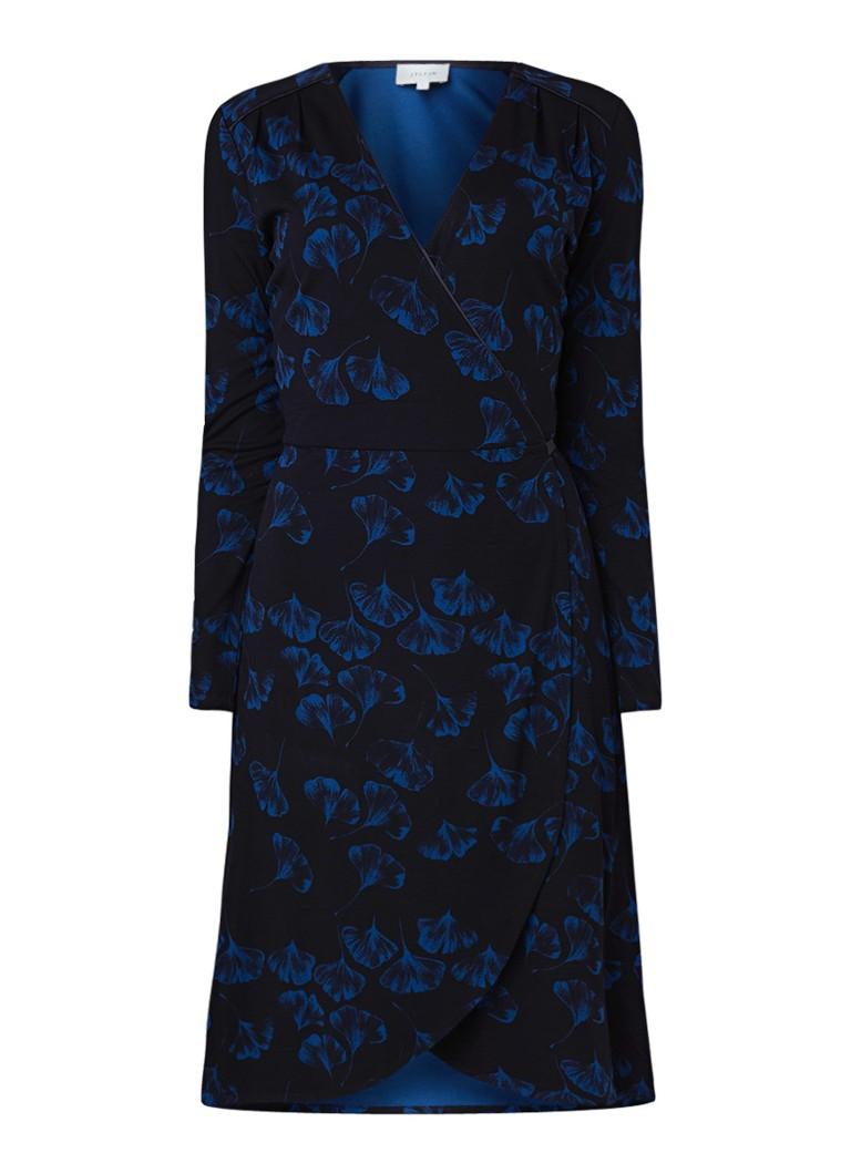 Jigsaw Ginko wikkeljurk met bloemendessin donkerblauw