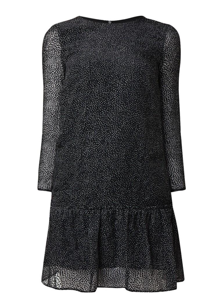 Jigsaw Velvet Devore semi-transparante mini-jurk met volant zwart