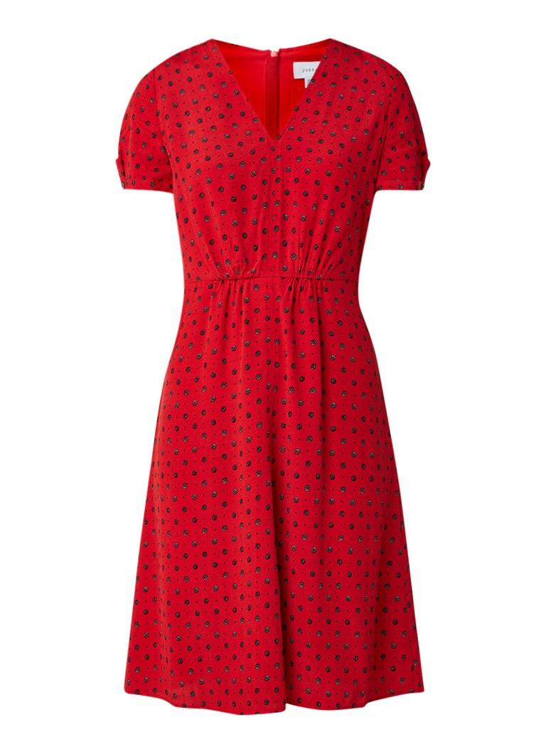 Jigsaw Midi A-lijn blousejurk met gestipt dessin rood