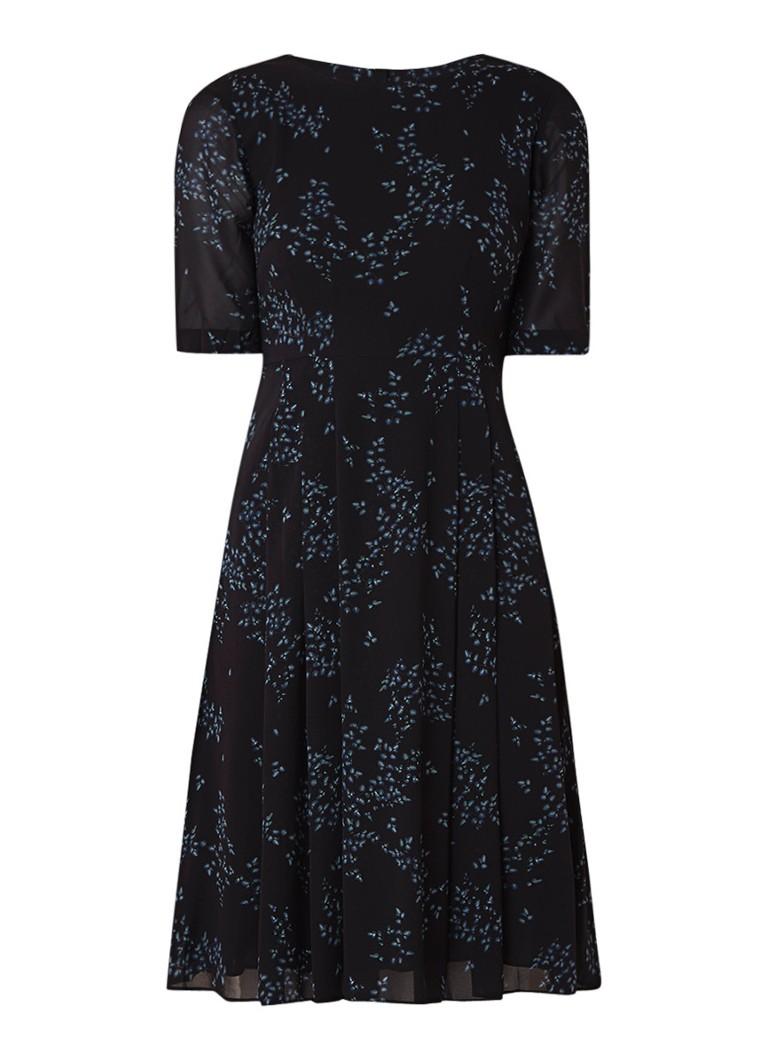 Jigsaw Ophelia midi-jurk van zijde met bloemendessin donkerblauw