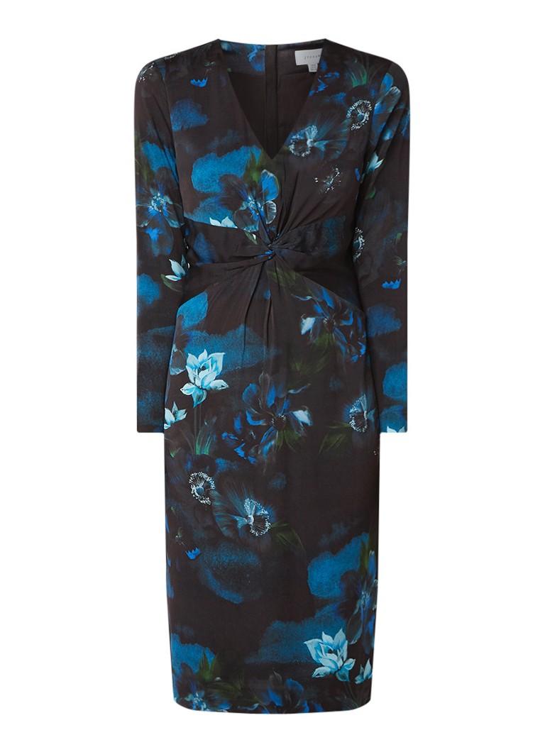 Jigsaw Romantic kokerjurk met bloemendessin donkerblauw