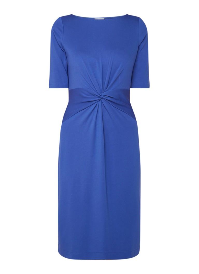 Jigsaw Midi-jurk van jersey met knoopdetail middenblauw