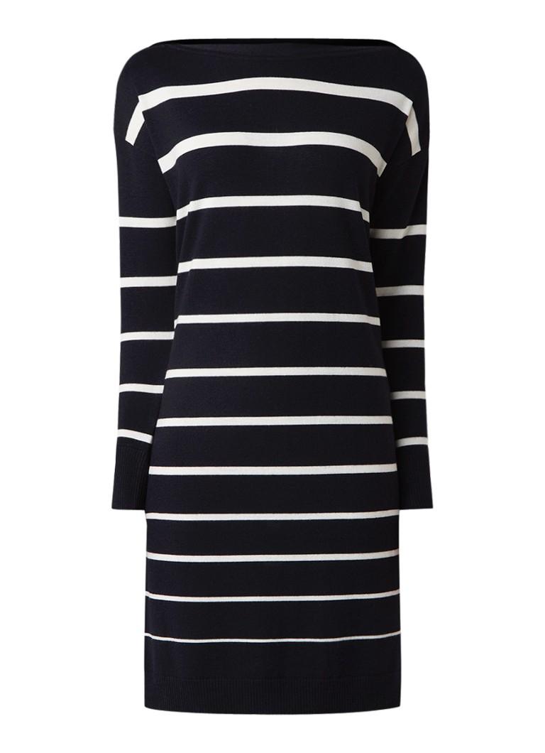 Jigsaw Fijngebreide jurk van wol met streepdessin donkerblauw