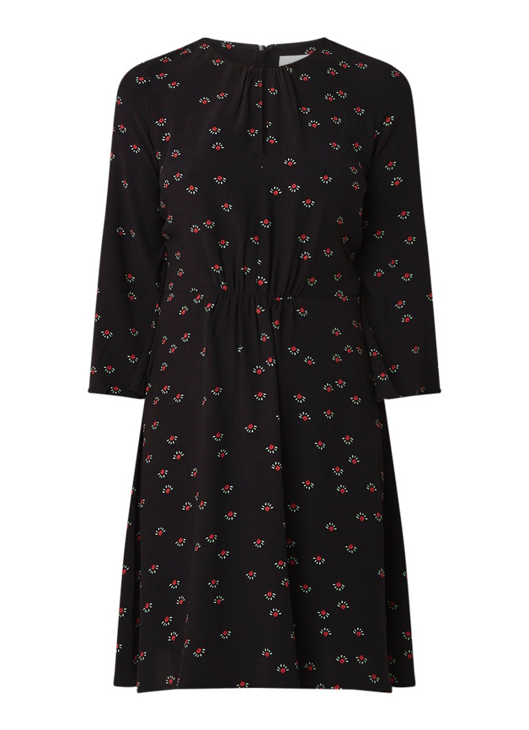 Jigsaw Dahlia tuniekjurk met klokmouw en bloemendessin zwart