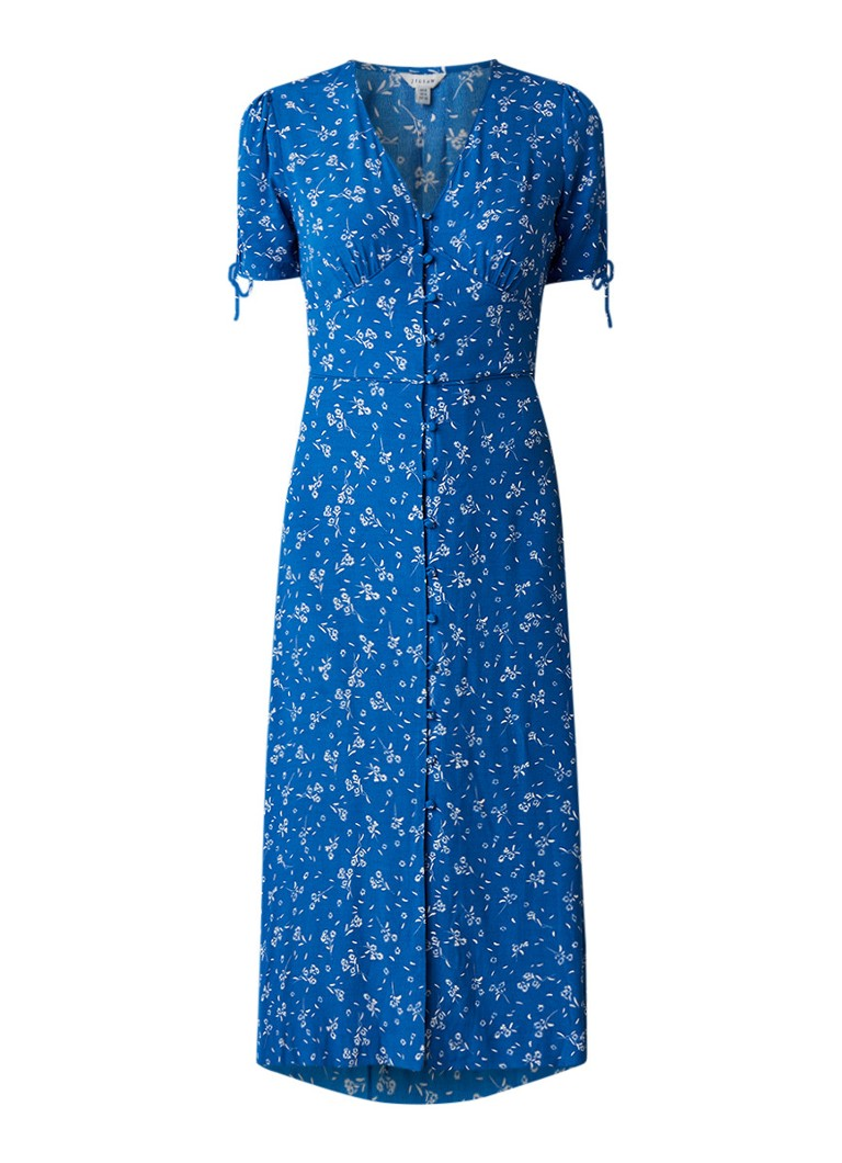 Jigsaw Dandelion midi blousejurk met bloemendessin blauw