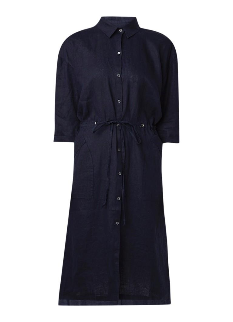 Jigsaw Loose fit blousejurk van linnen met driekwart mouw donkerblauw