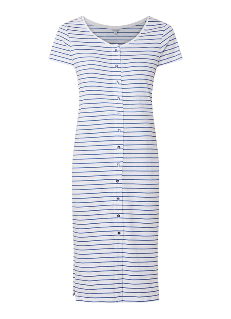 Jigsaw Fijngebreide midi-jurk met streepdessin blauw