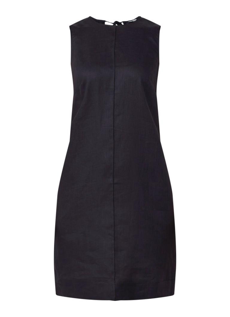 Jigsaw Mouwloze jurk van linnen met keyhole donkerblauw