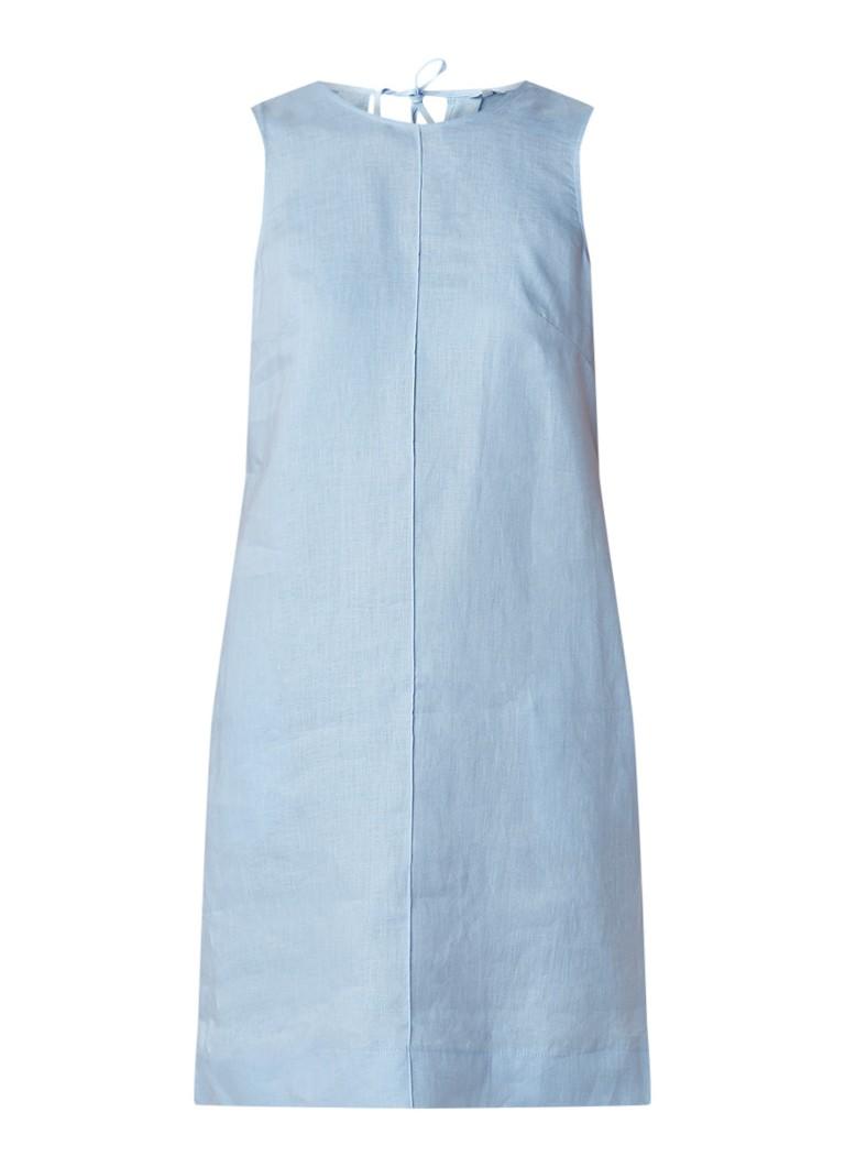 Jigsaw Mouwloze shiftjurk van linnen met deelnaad lichtblauw