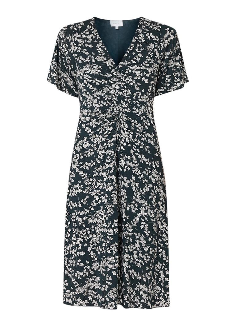 Jigsaw Midi-jurk van jersey met bladdessin donkergroen