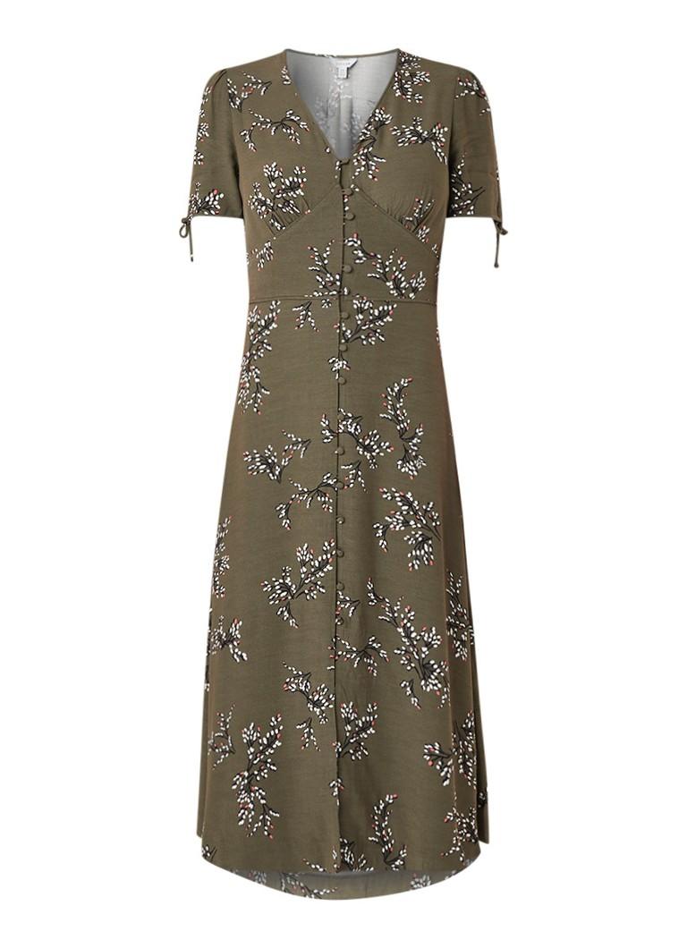 Jigsaw Sophelia blousejurk met bloemendessin khaki