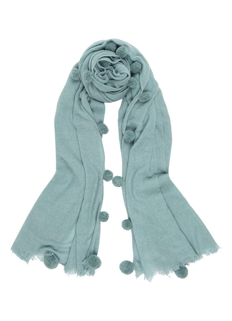 Jigsaw Soraya sjaal in wolblend met pompons 200 x 75 cm