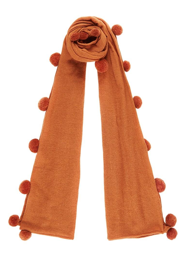 Jigsaw Solange sjaal in wolblend met pompons 200 x 75 cm