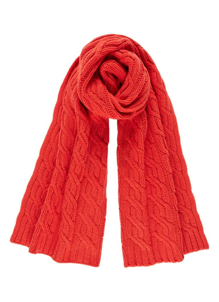 Jigsaw Kabelgebreide sjaal in wol en kasjmierblend 180 x 50 cm