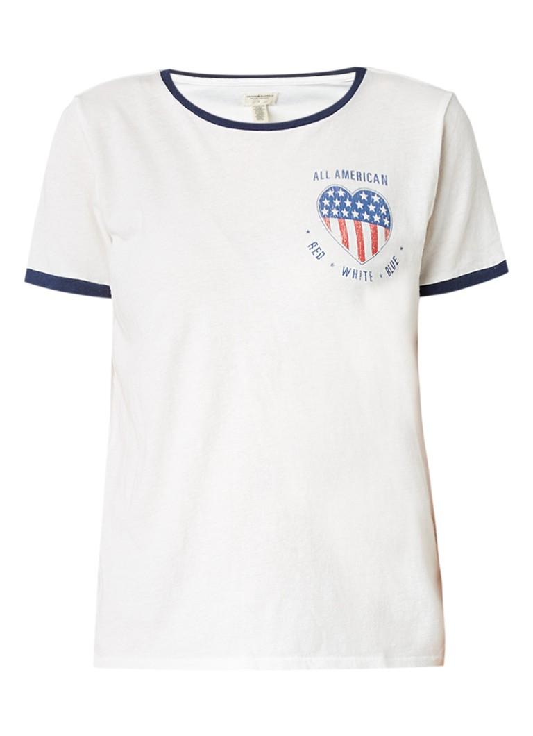 Denim  and  Supply Ralph Lauren T-shirt van katoen met contrastboord