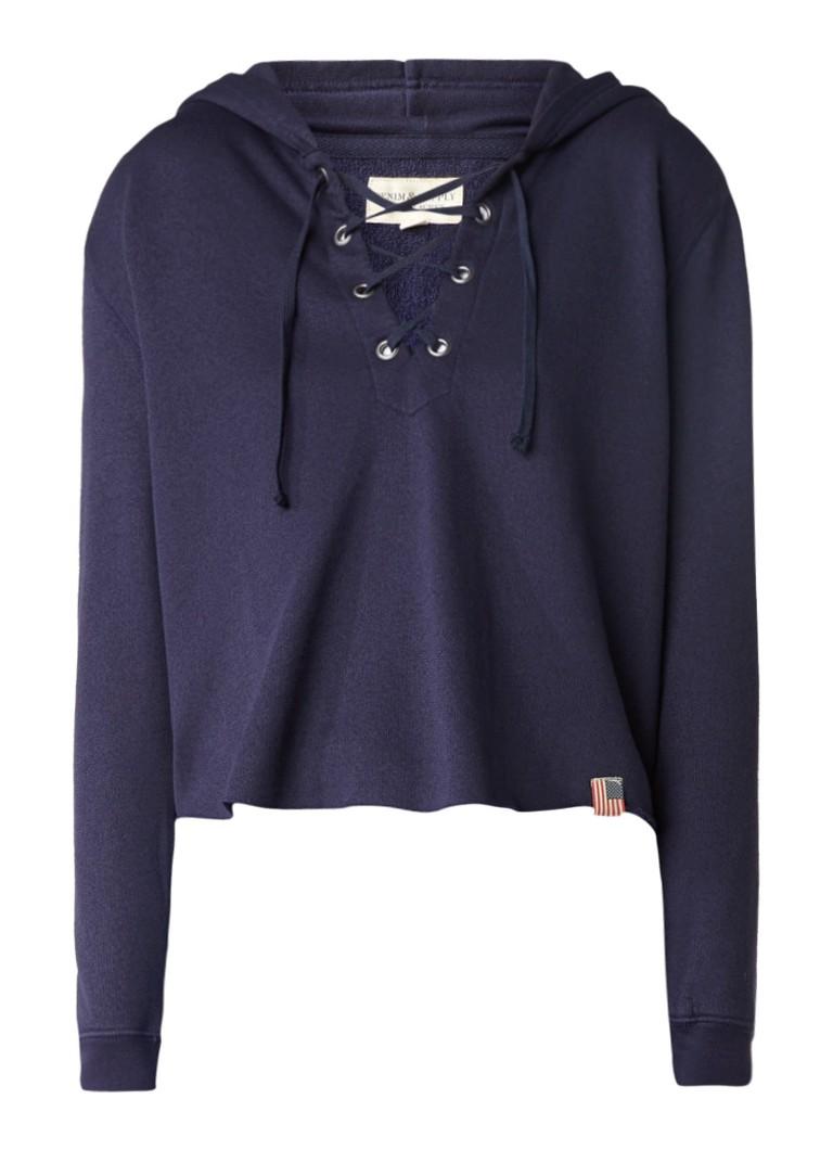 Denim  and  Supply Ralph Lauren Cropped hoodie met veterdetail