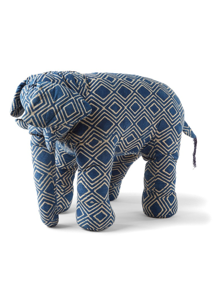 Doing Goods Elephant Indigo Ikat knuffel 53 cm