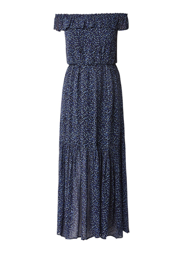 Denim & Supply Ralph Lauren Off shoulder maxi-jurk met bloemendessin donkerblauw