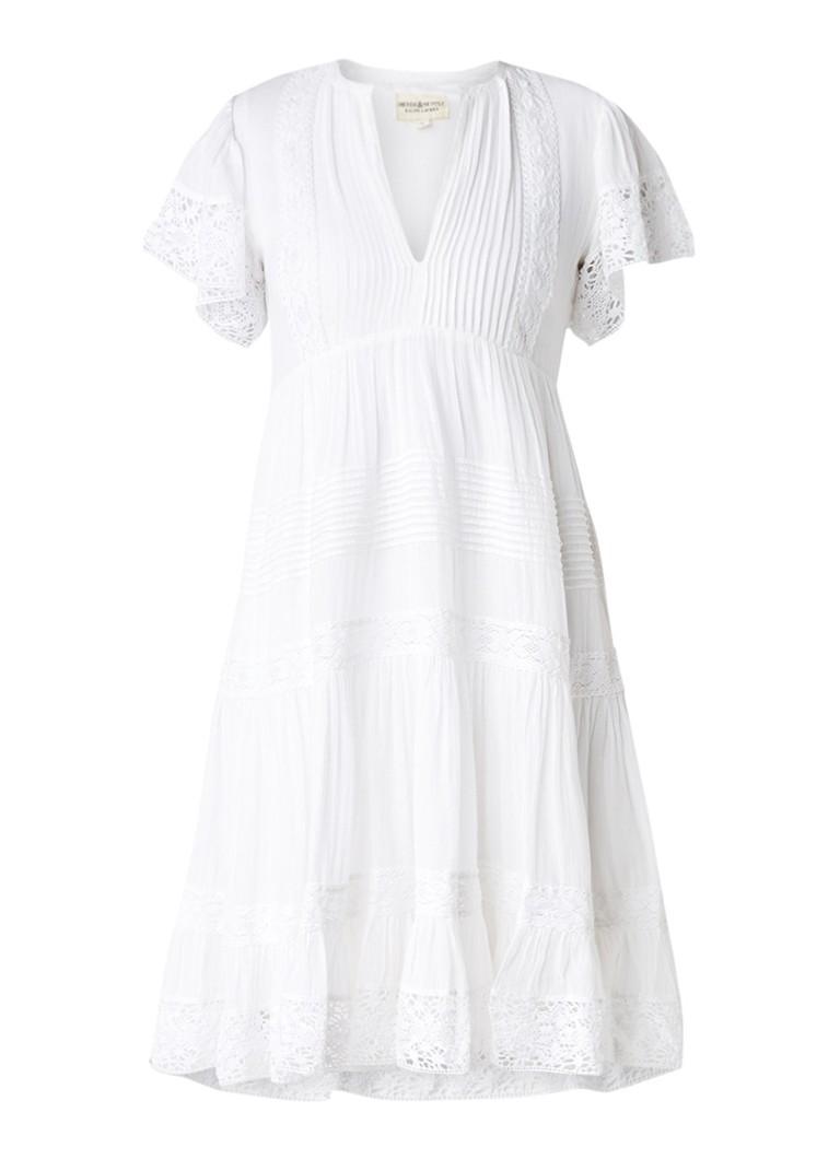 Denim & Supply Ralph Lauren Midi A-lijn jurk met broderie en plooidetails wit