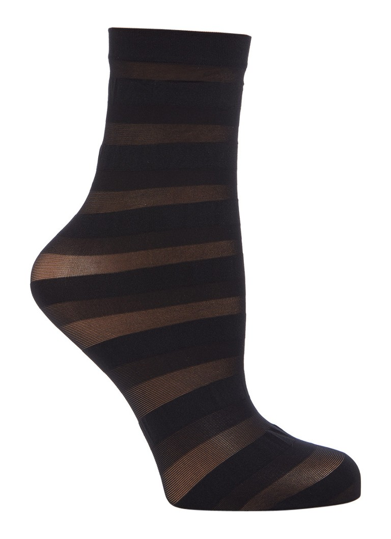 Wolford Stripes pantysokken met dessin in 20 denier black white deep blue