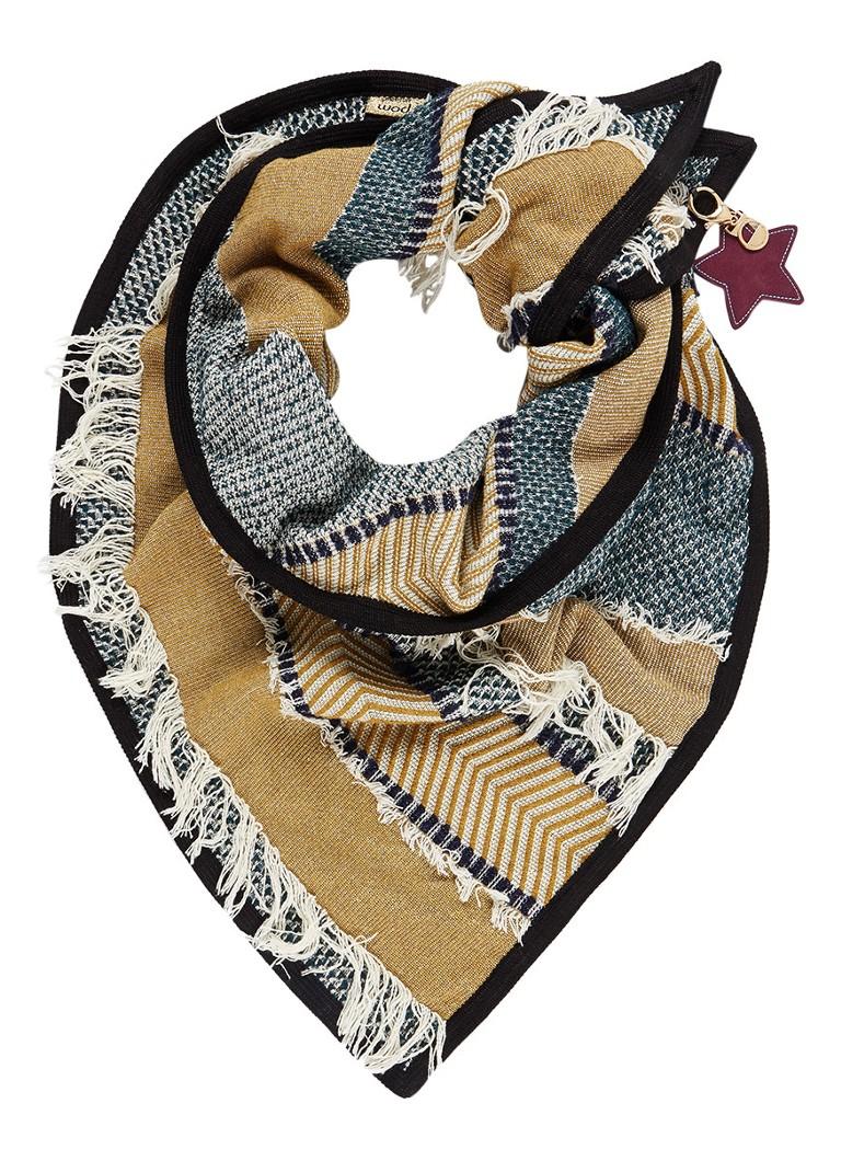 POM Amsterdam Desert Fringe sjaal in wolblend met streepdessin 200 x 150 cm