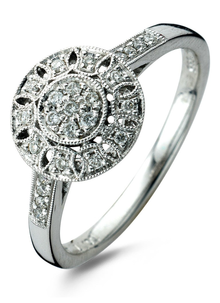 Diamond Point Vintage witgouden ring