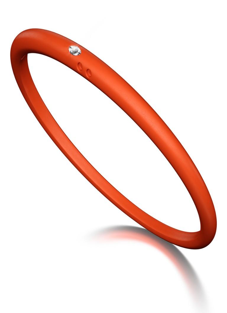 Due Punti Solitair armband rood-oranje