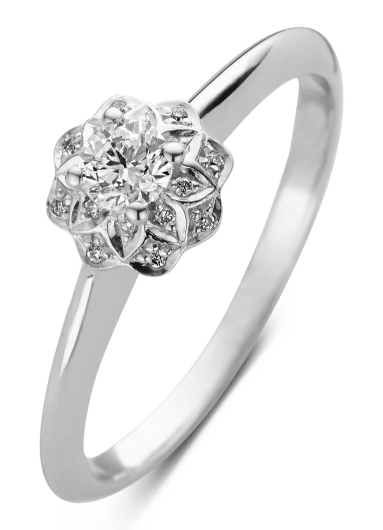 Diamond Point Hearts and arrows witgouden ring