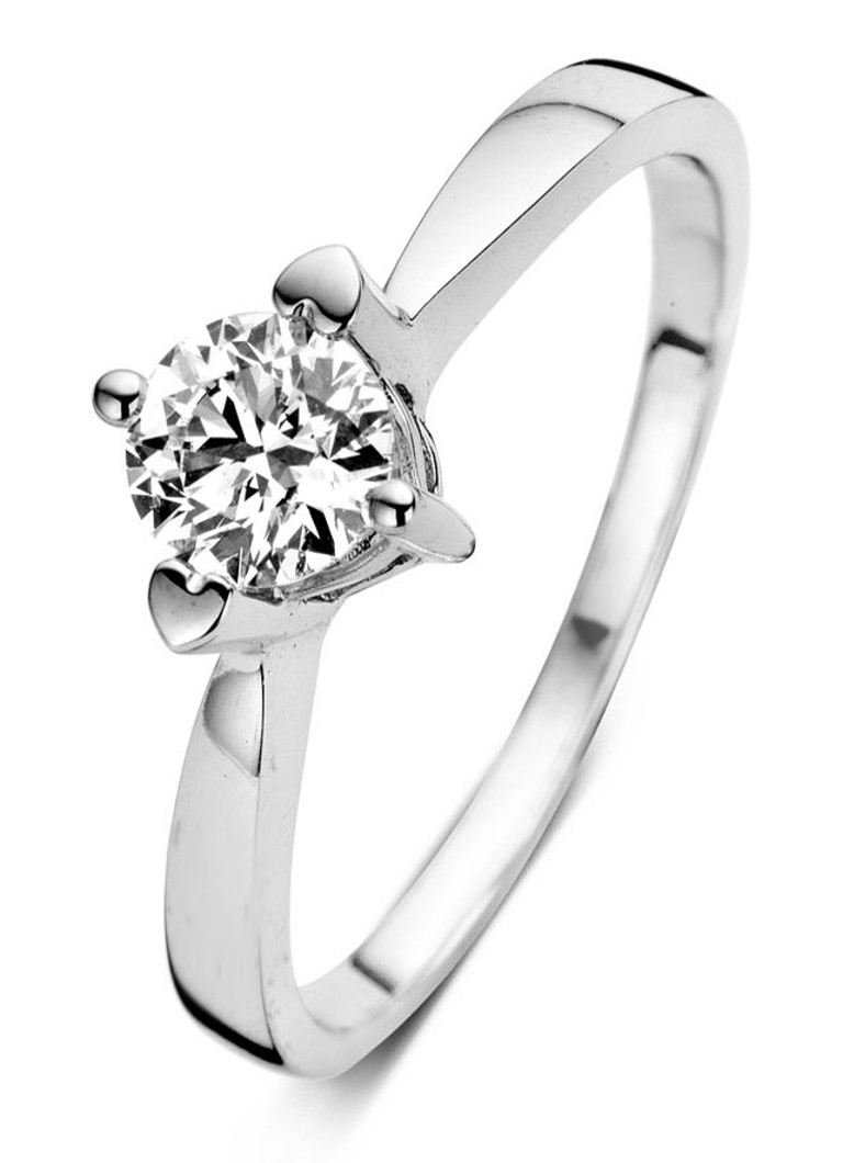 Diamond Point Hearts & arrows witgouden ring