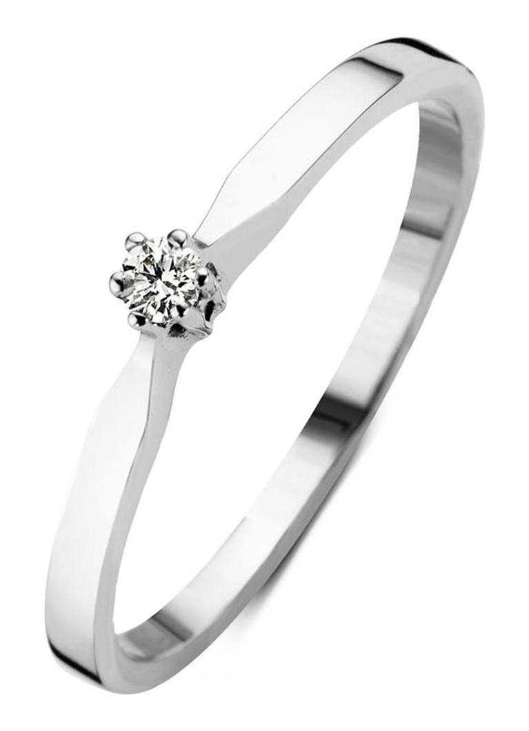 Diamond Point Witgouden solitair groeibriljant ring, 0.03 ct.