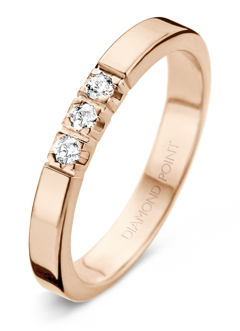 Sieraden Diamond Point Roségouden alliance groeibriljant ring  0 21 ct  Roségoud