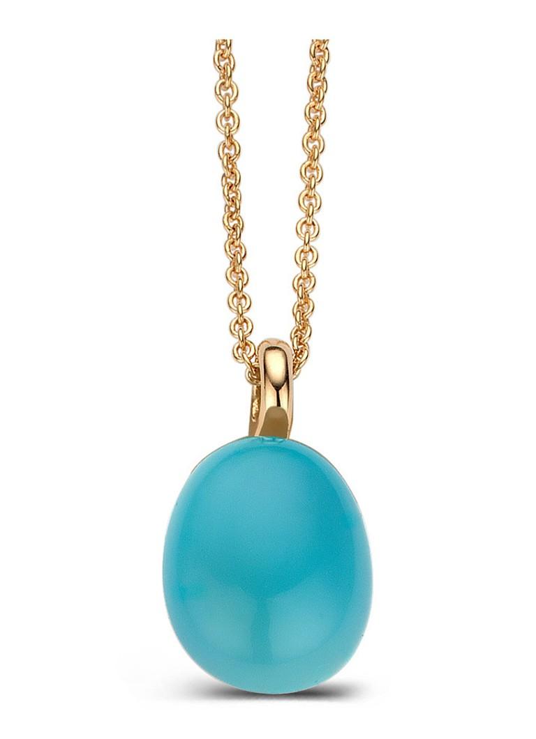 Image of Diamond Point Roségouden hanger 3.00 ct blauwe chalcedoon Little Drops