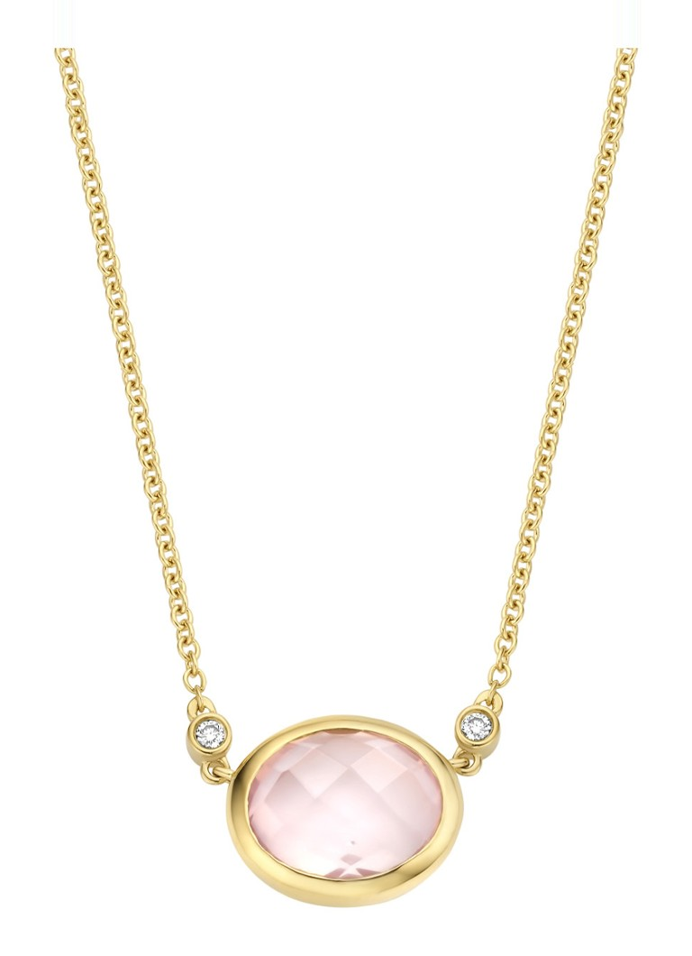 Diamond Point Geelgouden collier 1 86 ct roze kwarts Philosophy