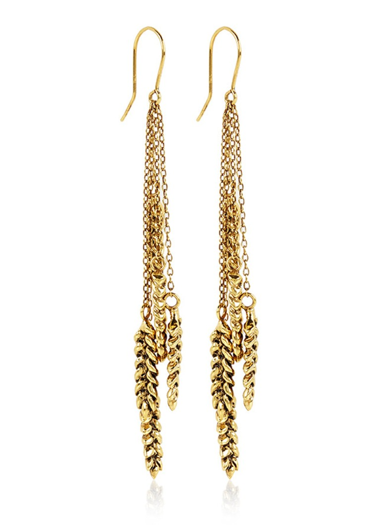 Oorhangers Multi Wheat 18k goud verguld