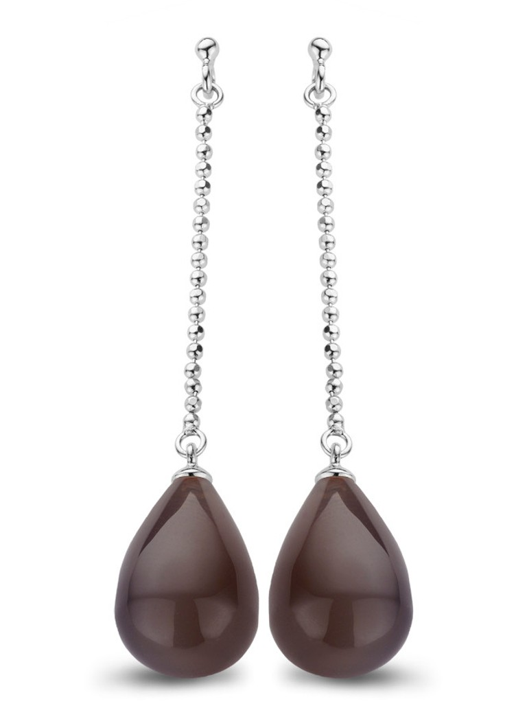 Casa Jewelry Oorstekers Melody agaat chocoladebruin zilverkleurig