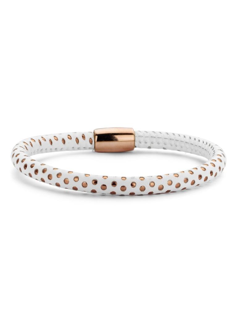 Casa Jewelry Armband Bubbles leder met magneetslot wit