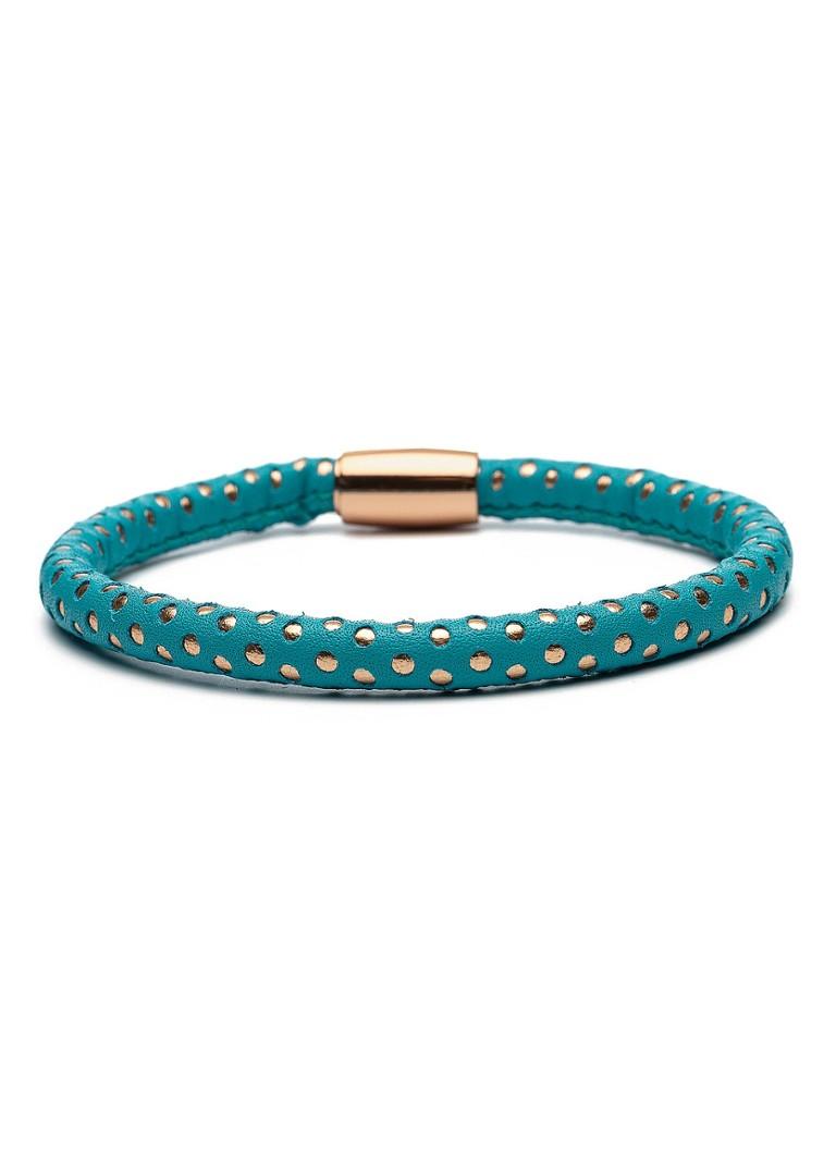 Casa Jewelry Armband Turqoise Dots van leder slot zilver rosé verguld