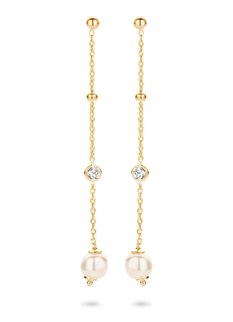 Casa Jewelry Oorhangers Pruts Pearl van zilver goud verguld