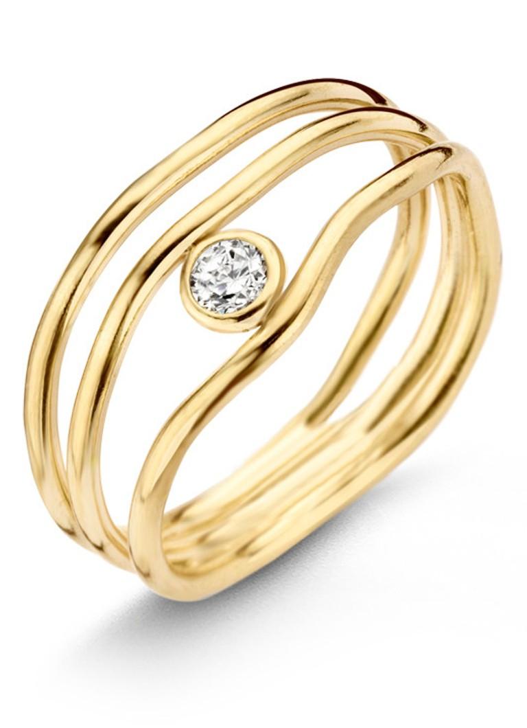 Casa Jewelry Ring Spaghetti Diamond van zilver goud verguld