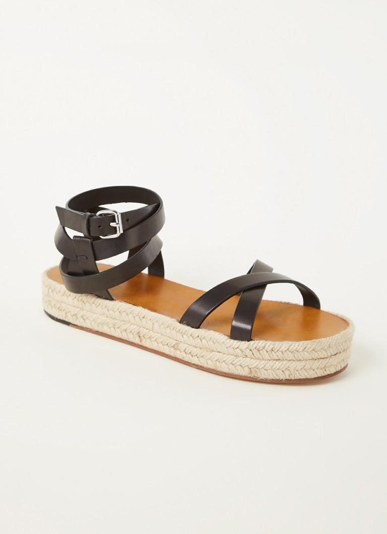 Melyz sandaal van kalfsleer met raffia details