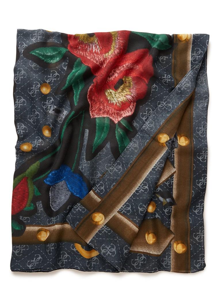 GUESS Flowers sjaal met bloemendessin 115 x 115 cm