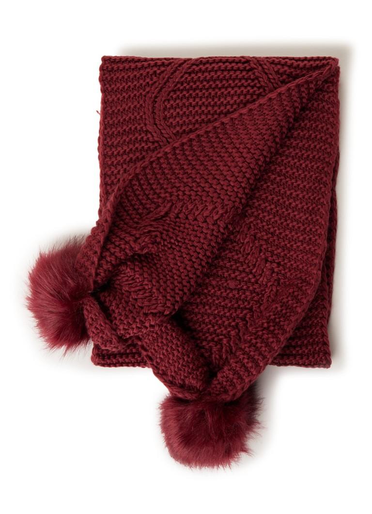 GUESS Grofgebreide sjaal met pompons 160 x 30 cm