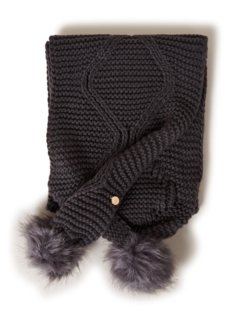 GUESS Grofgebreide sjaal met pompons