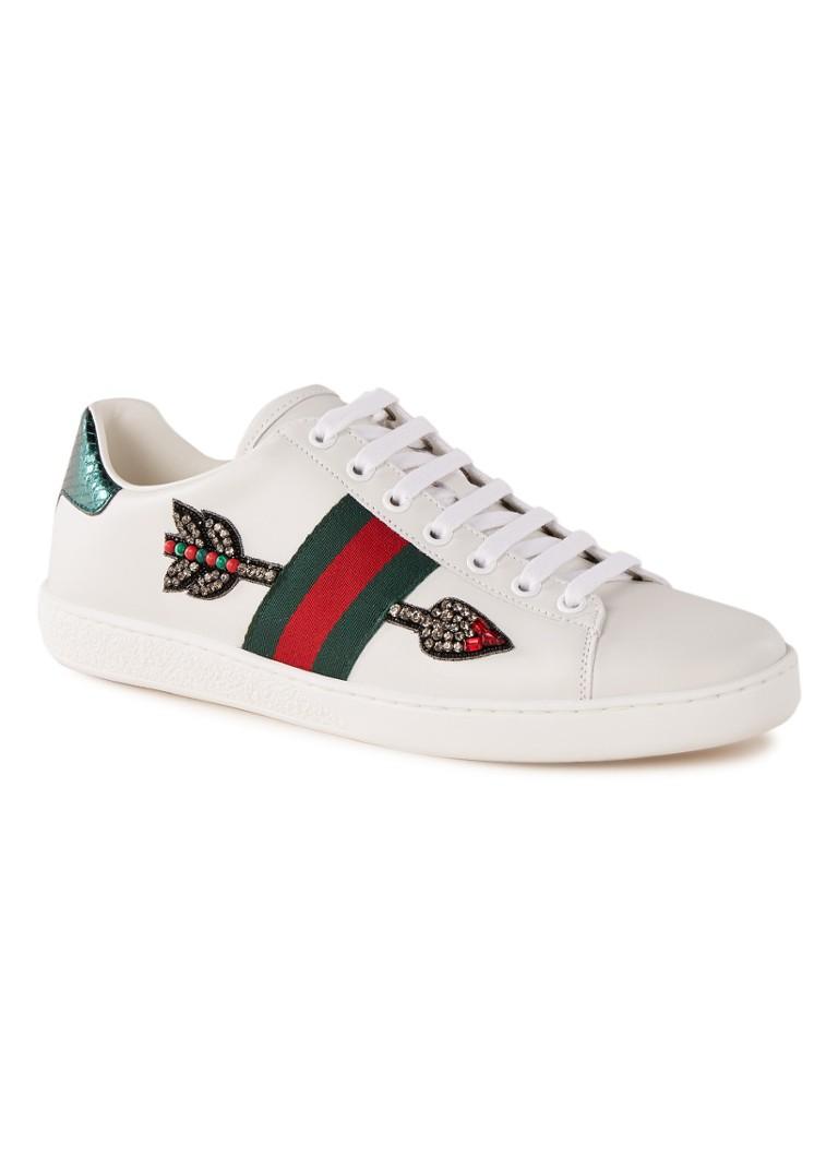 Image of Gucci Ace Arrow sneaker van leer met strass
