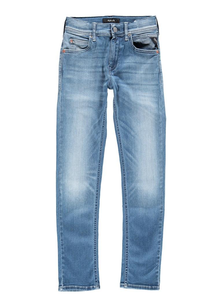 Replay and Sons Hyperflex super slim fit jeans met medium wassing